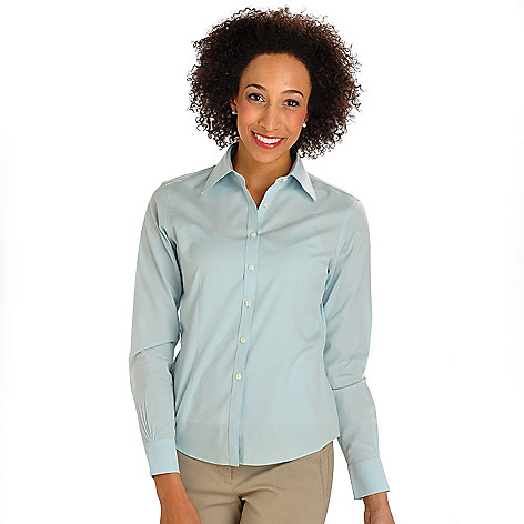702-876 - Brooks Brothers® Stretch Cotton Button Front Woven Blouse