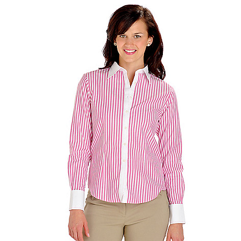 702-878 - Brooks Brothers® Button Front Pick Stitch Detail Wide Stripe Woven Blouse