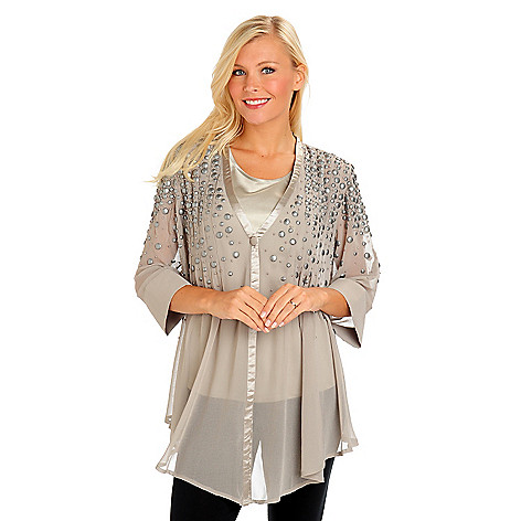 702-900 - Geneology Embellished Satin Trim Chiffon Blouse & Tank Top Set