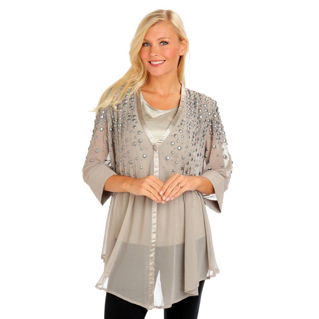 900 geneology embellished satin trim chiffon blouse amp tank top set