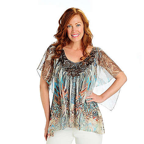 702-920 - One World Printed Knit Flutter Sleeved Chiffon Overlay Embellished Top