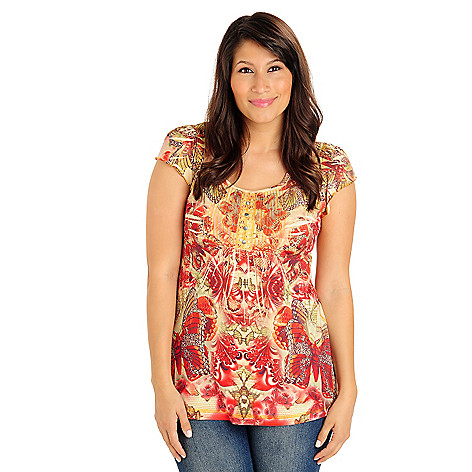 702-937 - One World Printed Knit Flutter Sleeved Scoop Neck Henley Top