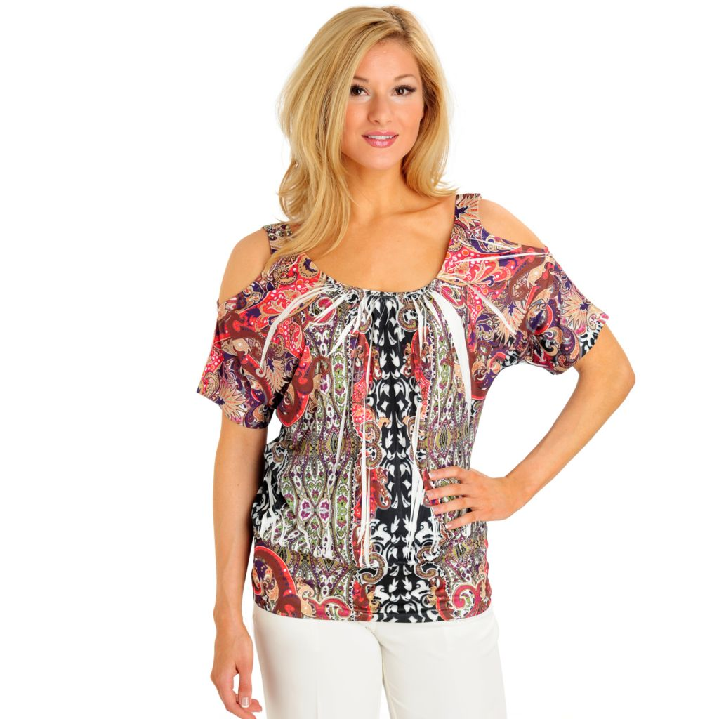 702-954 - One World Micro Jersey Cold Shoulder Banded Bottom Printed Top