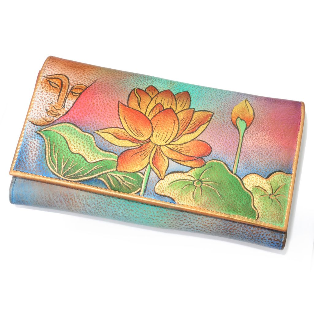 703-269 - Anuschka Hand-Painted Leather Tri-Fold Wallet