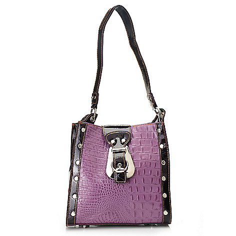 703-294 - Madi Claire Croco Embossed Leather Buckle Detailed Small Tote Bag