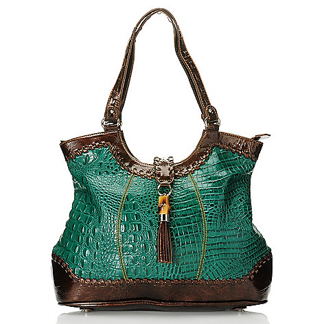 703-428 - Madi Claire Croco Embossed Leather ''Dahlia'' Tote Bag w/ Ornament