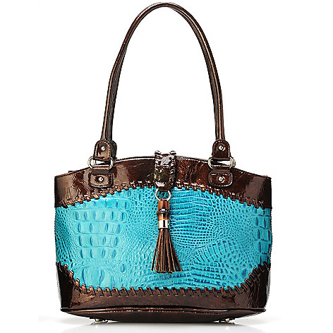 703-429 - Madi Claire Croco Embossed Leather ''Dahlia'' Tassel Ornament Satchel