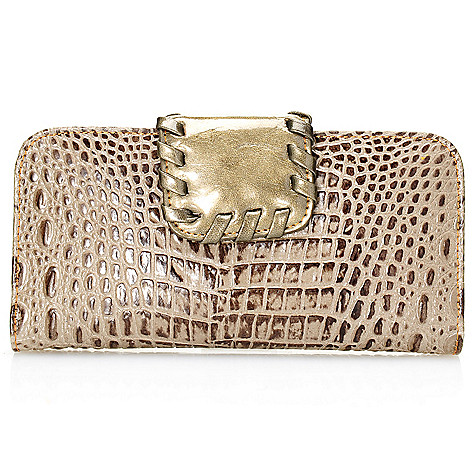 703-430 - Madi Claire ''Dahlia'' Croco Embossed Leather Whipstitch Detailed Wallet