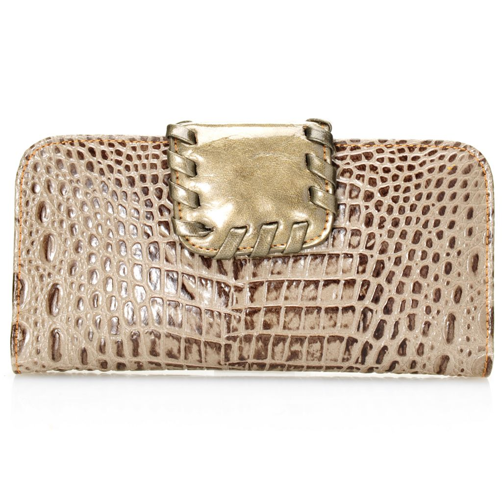 703-430 - Madi Claire Croco Embossed Leather Whipstitch Detailed Wallet