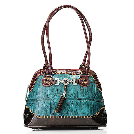 703-432 - Madi Claire Croco Embossed Leather Jumbo Dome Satchel