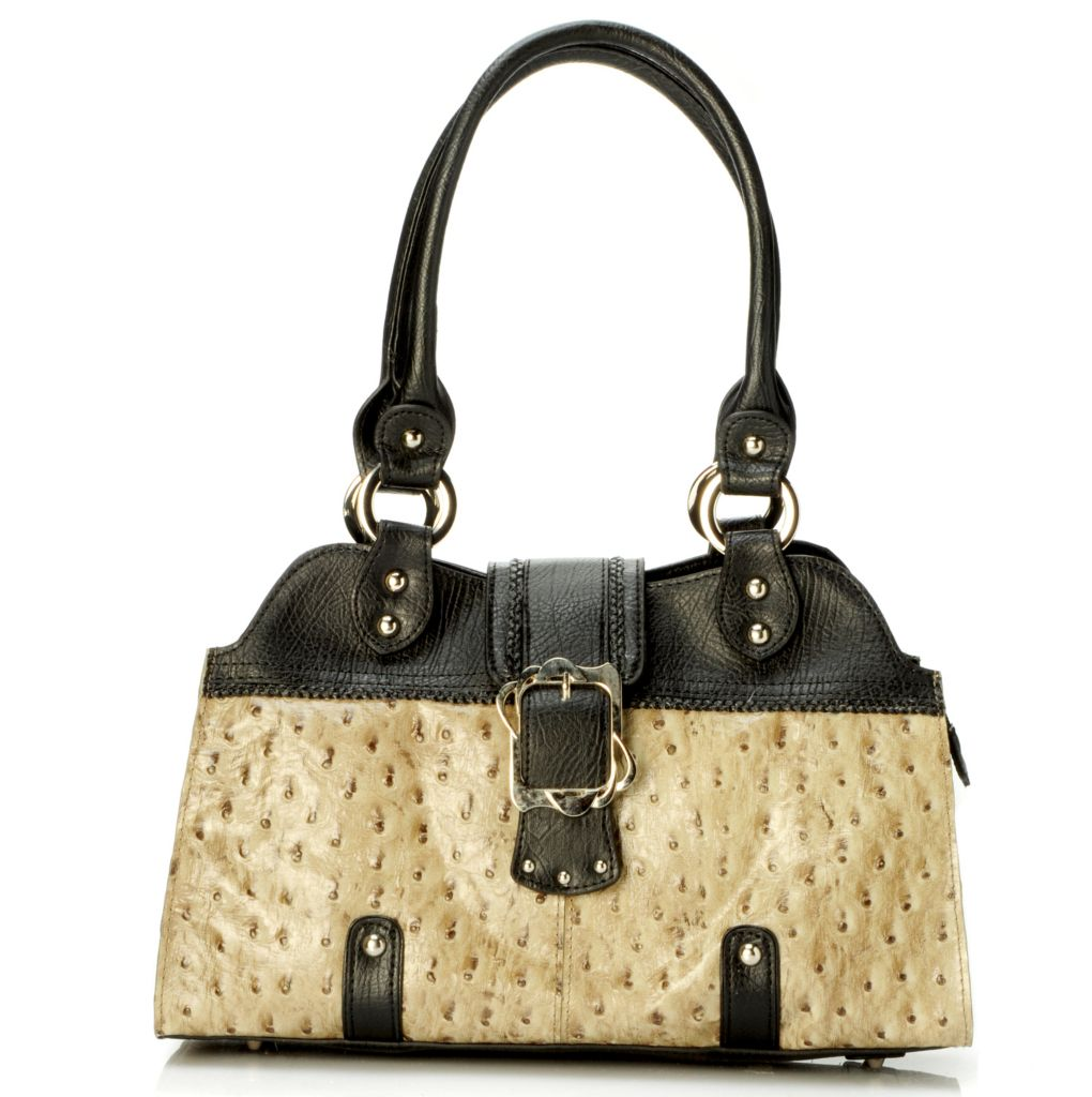 "703-448 - Madi Claire ""Naomi"" Ostrich Embossed Leather Satchel"
