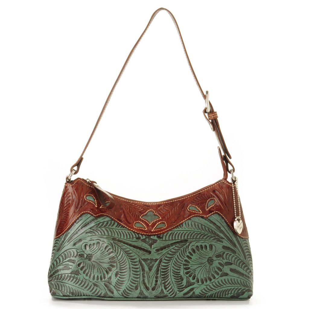 "703-696 - American West Hand-Tooled Leather ""Peek-a-Boo"" Shoulder Bag"