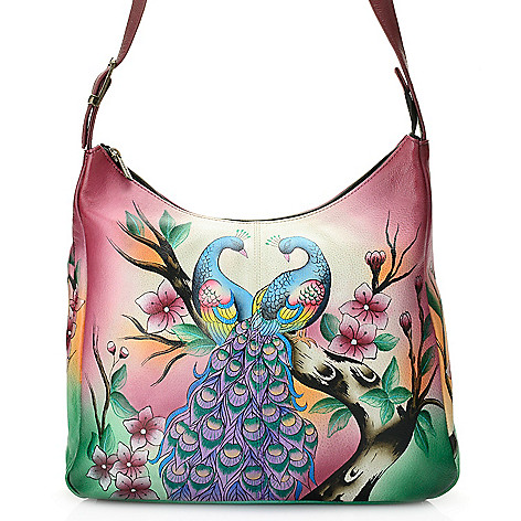 703-789 - Anuschka Hand-Painted Leather Organizer Hobo Handbag w/ Phone Case