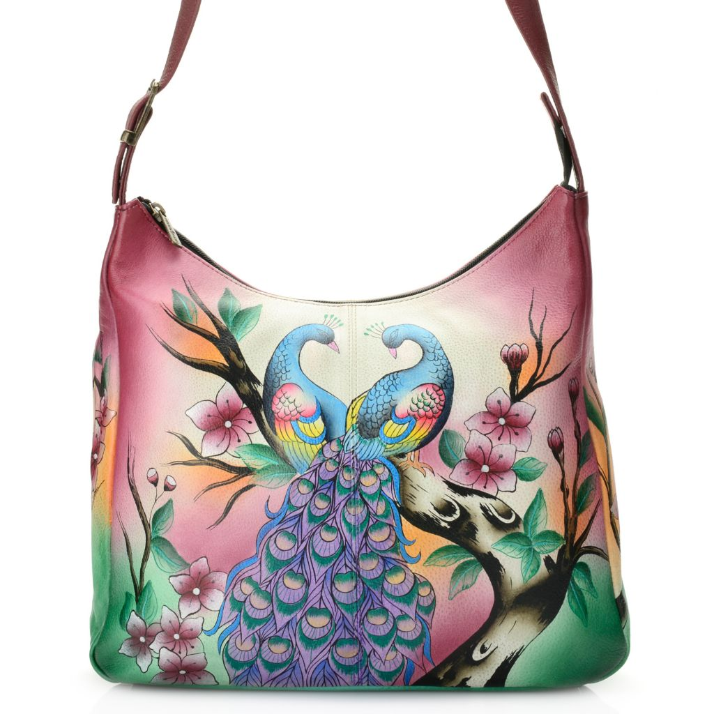 703-789 - Anuschka Hand-Painted Leather Organizer Hobo Handbag w/ Phone Case