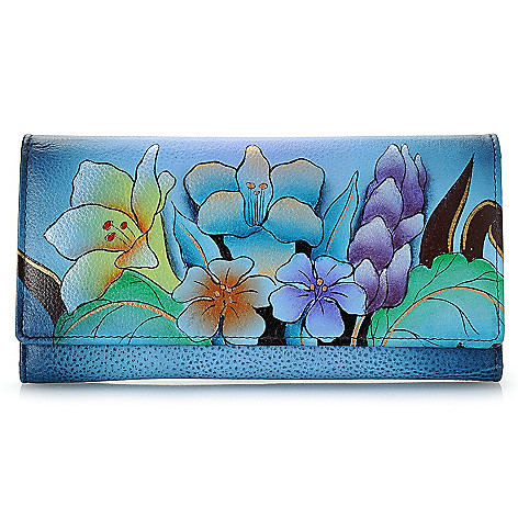 703-790 - Anuschka Hand-Painted Leather Credit Card & Checkbook Clutch