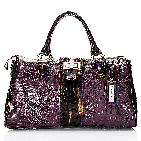 703-981 - Madi Claire ''Riley'' Croco Embossed Leather Double Handle Satchel w/ Shoulder Strap