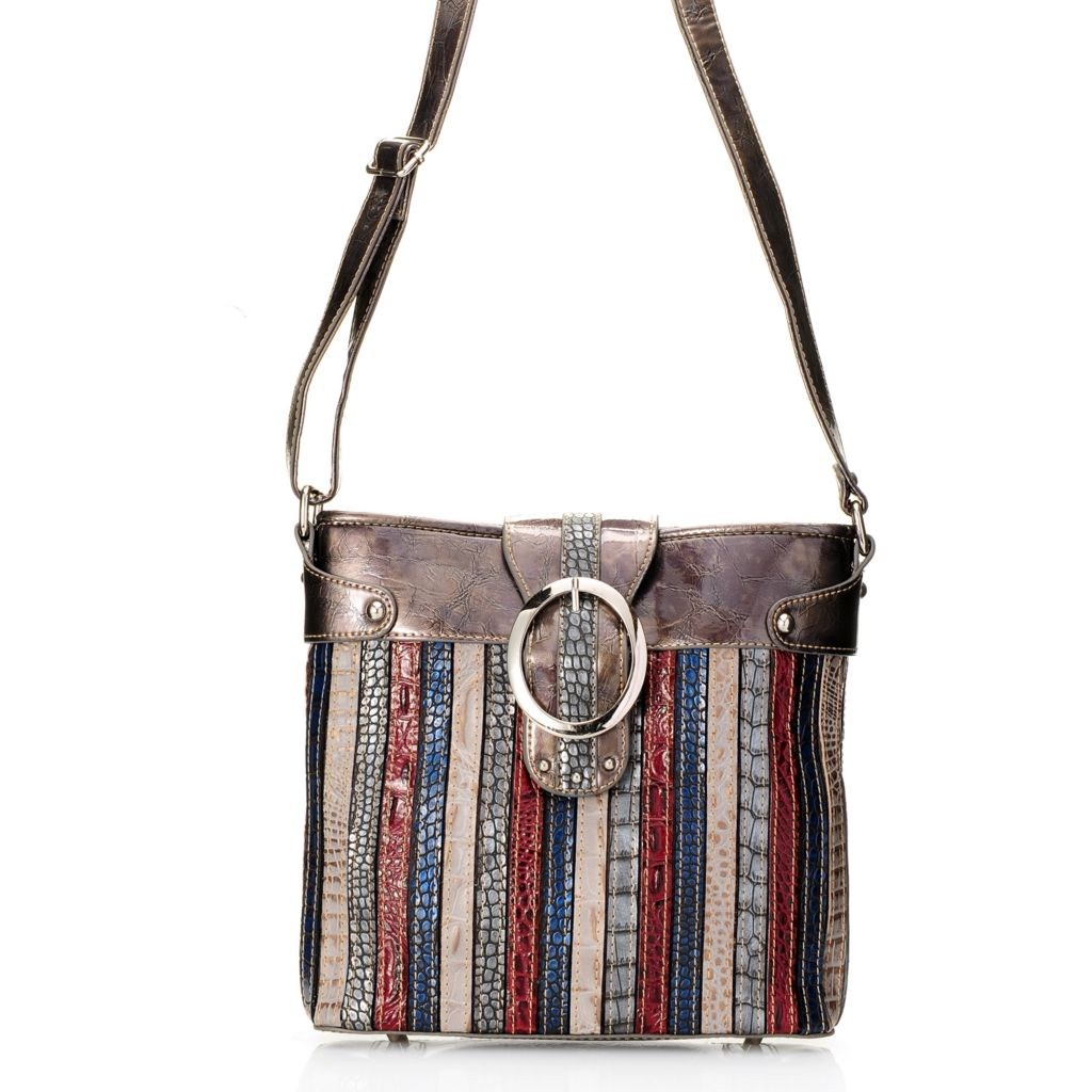 703-983 - Madi Claire Croco Embossed Leather Striped Messenger Bag