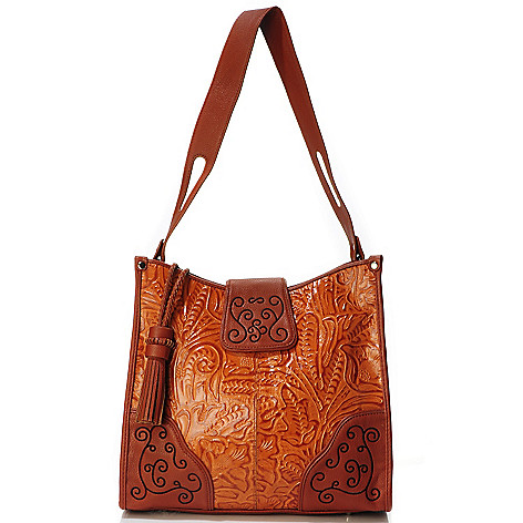 704-022 - Madi Claire ''Savannah'' Tool Embossed Leather Wildflower Embroidered Tote Bag