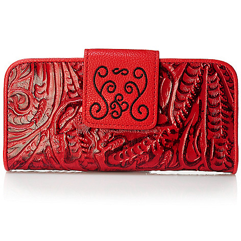 704-023 - Madi Claire ''Savannah'' Tool Embossed Leather Wildflower Wallet