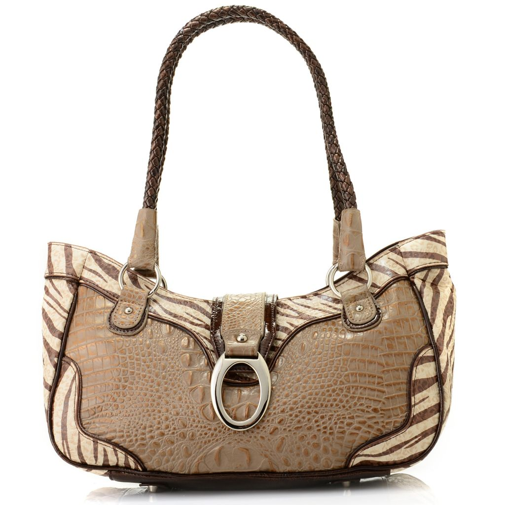704-065 - Madi Claire Croco Embossed Leather Zebra Print Satchel