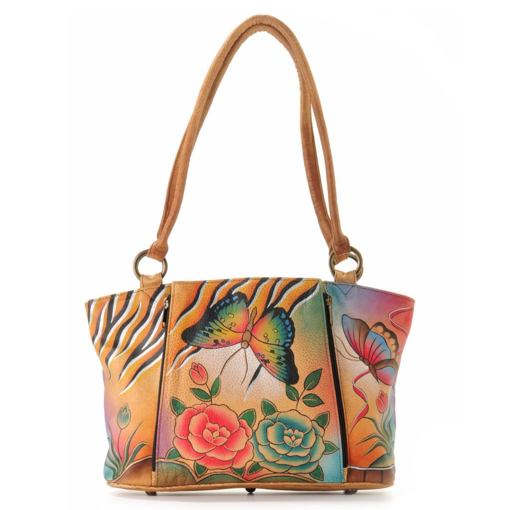 704-072 - Anuschka Hand-Painted Leather Double Handle Organizer Tote Bag