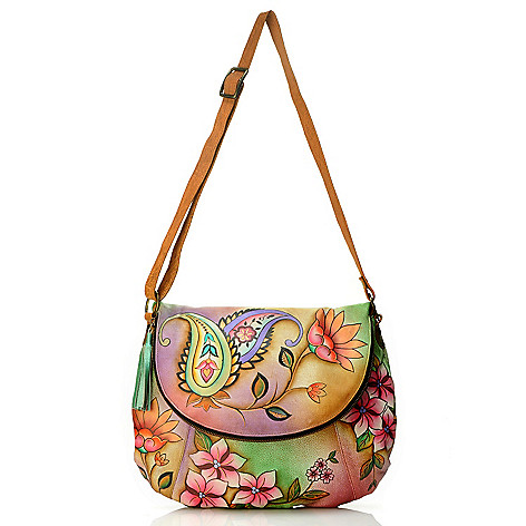 704-073 - Anuschka Hand-Painted Leather Front Flap Convertible Bag