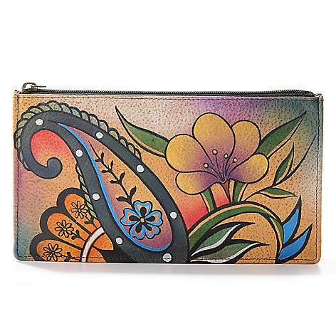 704-076 - Anuschka  Hand-Painted Leather Zip Top Organizer Wallet