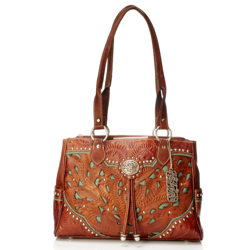 704-187 - American West Hand-Tooled Leather Tote Bag