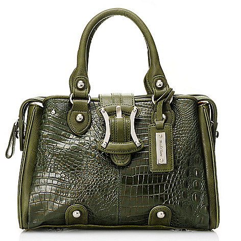 704-196 - Madi Claire Croco Embossed Convertible Leather Satchel