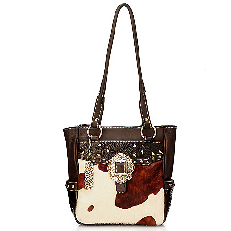 704-243 - American West Pony Print Calf Hair & Leather Shoulder Bag