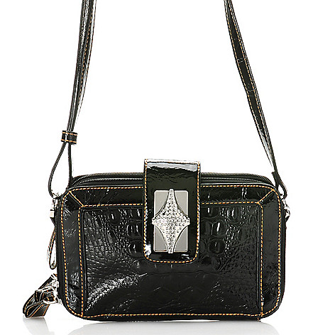 704-311 - Madi Claire ''Presley'' Croco Embossed Leather Organizer Multi Compartment Cross Body Bag
