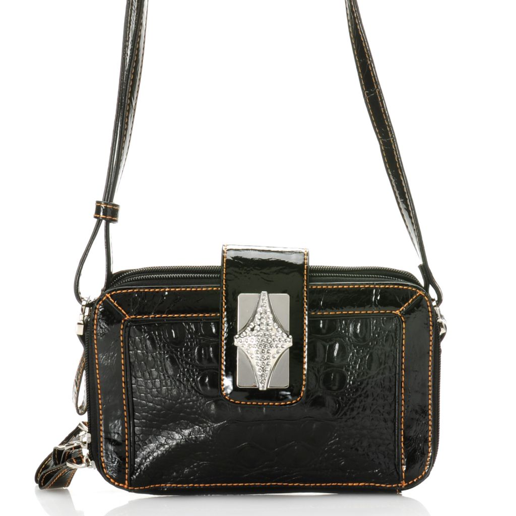 "704-311 - Madi Claire Croco Embossed Leather ""Presley"" Organizer Cross Body Bag"