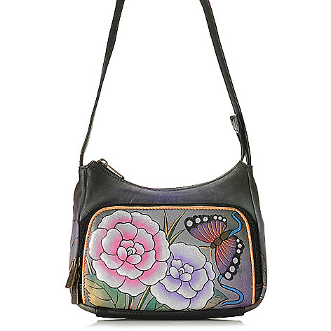 704-386 - Anuschka Hand-Painted Leather Compact Cross Body Travel Organizer