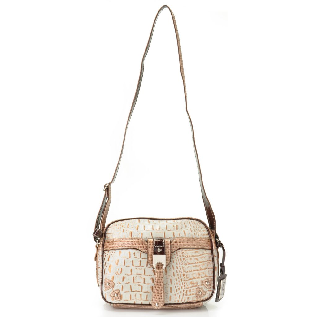"704-436 - Madi Claire ""Stella"" Croco Embossed Leather Cross Body Camera Bag"