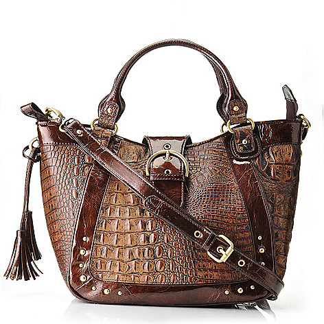 704-439 - Madi Claire Matte Croco Embossed Leather Tasseled Satchel w/ Shoulder Strap