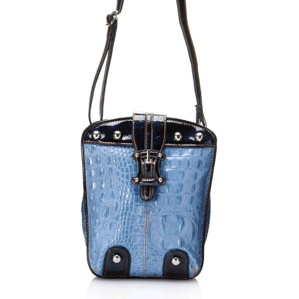 704-449 - Madi Claire Croco Embossed Leather Organizer Cross Body Bag