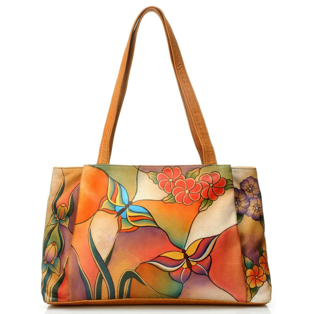 704-461 - Anuschka Hand-Painted Leather Large Shopper Handbag