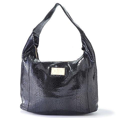 704-473 - Jack French London Leather ''Primrose'' Snake Print Hobo Handbag