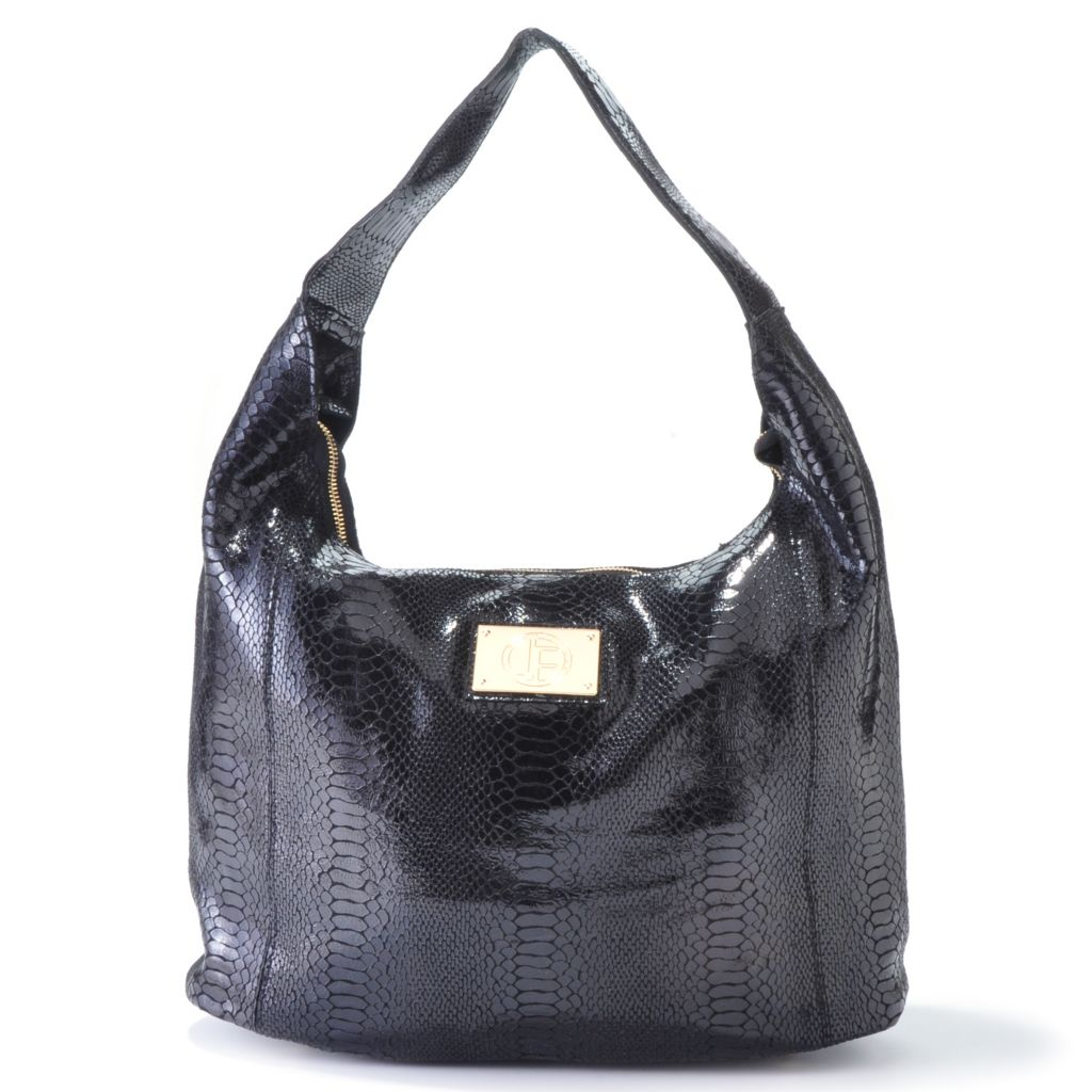 704-473 - Jack French London Snake Embossed Leather Zip Top Hobo Handbag