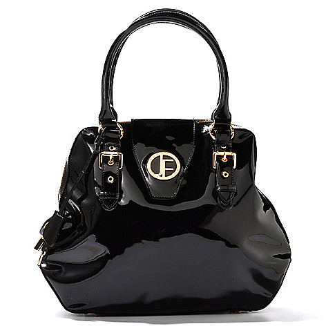 704-474 - Jack French London Patent Leather Double Handle Buckle Detailed Large Satchel