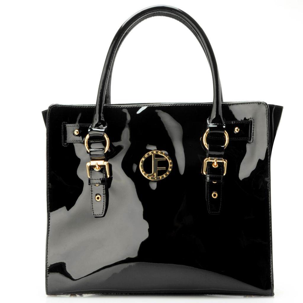 704-479 - Jack French London Leather Double Handle Zip Top Buckle Detailed Tote Bag