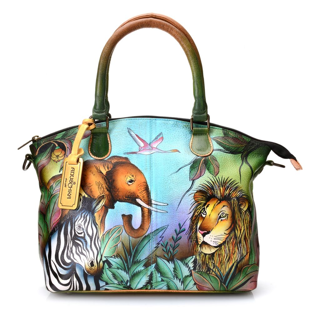 704-493 - Anuschka Hand Painted Leather Convertible Organizer Satchel
