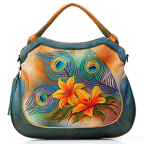 704-494 - Anuschka Hand-Painted Leather Expandable & Convertible Shopper Handbag