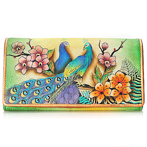 704-501 - Anuschka Hand-Painted Leather Accordian Flap-over Wallet