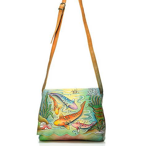 704-544 - Anuschka Hand-Painted Leather Travel Organizer Handbag