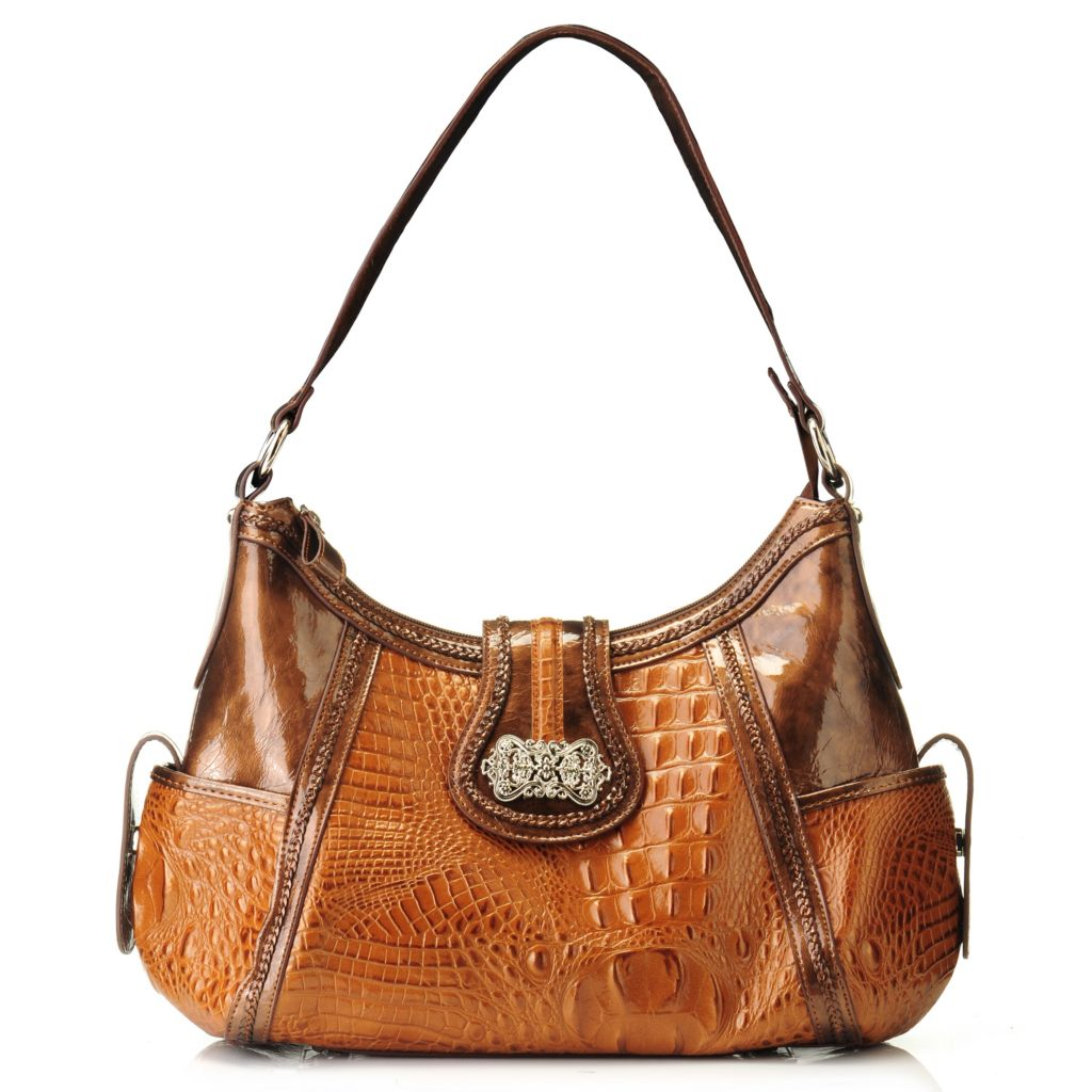 "704-554 - Madi Claire Croco Embossed Leather ""Luckie"" Hobo Handbag"