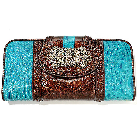 704-555 - Madi Claire Croco Embossed Leather ''Luckie'' Wallet