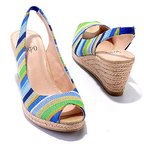 704-557 - Impo ''Elana'' Peep Toe Slingback Wedge Sandals