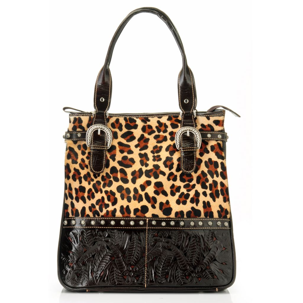 704-617 - American West Leopard Printed Cow Hide Leather Travel Tote Bag