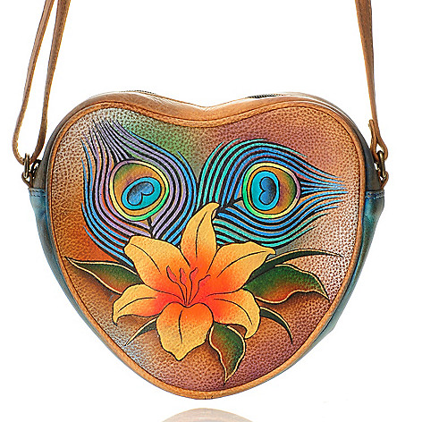 704-635 - Anuschka Hand-Painted Leather Zip Top Heart Shaped Cross Body Bag